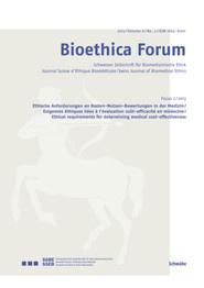 Bioethica Forum 2013 / Volume 6 / No. 2