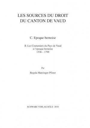 XIXe partie: Les sources du droit du Canton de Vaud. B. Droits seigneuriaux et franchises municipales